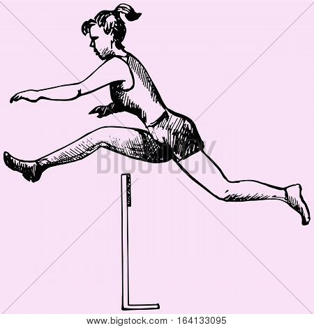 Professional female hurdler in action doodle style sketch illustration hand drawn vector