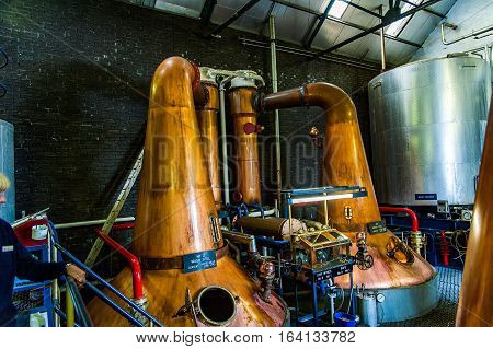 BLACFORD PERTHSHIRE SCOTLAND UK September 16 2016 Machinery of Tullibardine whiskey distillery in the highlands of scotland