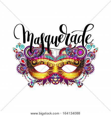 masquerade lettering logo design with mask and hand written word, vector typographical illustration