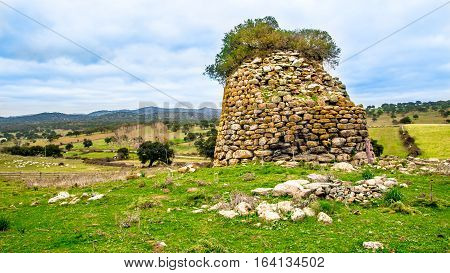 A nuraghe the main type of ancient megalithic edifice built between the middle of the Bronze Age in Sardinia Italy