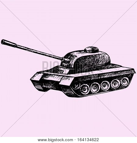 Tank isolated doodle style sketch illustration hand drawn vector