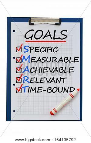 Smart goals acronym puzzle business concept on clipboard