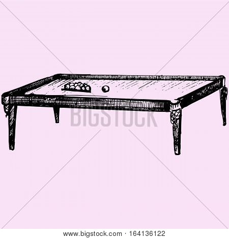 billiard table doodle style sketch illustration hand drawn vector