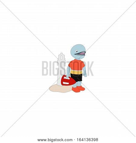 Cartoon style dolphin lifeguard isolated on a white background.