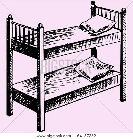 Kids bunk bed doodle style sketch illustration hand drawn vector