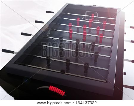 close up on black premium foosball table with lens flare
