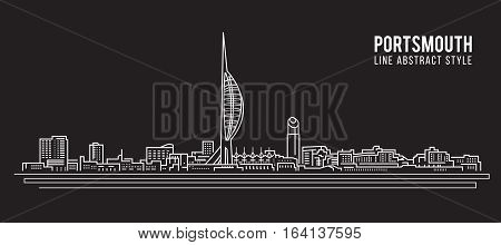 Cityscape Building Line art Vector Illustration design - Portsmouth city