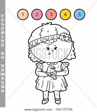 Vector illustration coloring by numbers educational game with cartoon girl and bird for kids