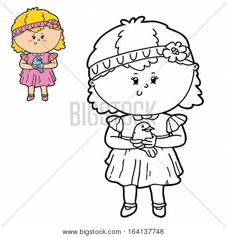 Vector illustration coloring page of happy cartoon girl and bird  for children, coloring and scrap book