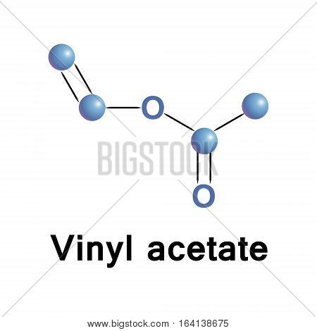 Vinyl acetate is an organic compound that is the precursor to polyvinyl acetate. Molecular stylized formula made in vector.
