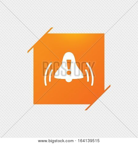 Alarm bell with exclamation mark sign icon. Wake up alarm symbol. Orange square label on pattern. Vector