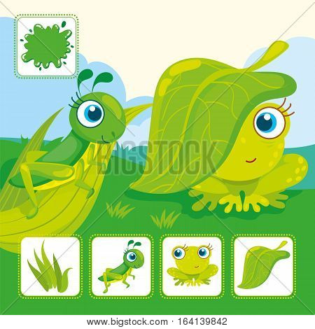 Vector educational cards of green color. Green grasshopper with frog in a meadow