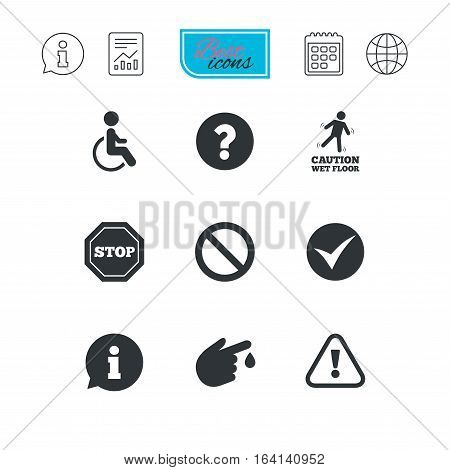 Attention caution icons. Question mark and information signs. Injury and disabled person symbols. Report document, calendar and information web icons. Vector