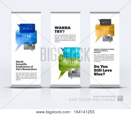 Abstract business vector set of modern roll Up Banner stand design template with bubble speech for exhibition, fair, show, exposition, expo, presentation, festival, parade, events.