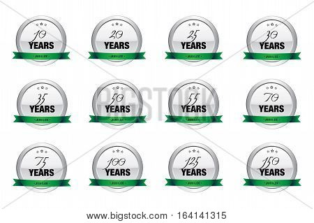 Year jubilee seals or icons. Silver seals or buttons with stars and green banner. Icon set.
