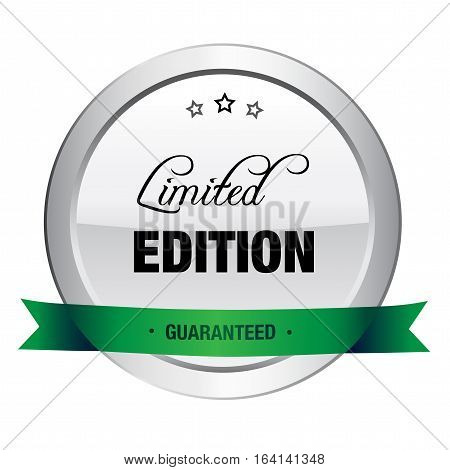 Limited edition seal or icon. Silver seal or button with stars and green banner.
