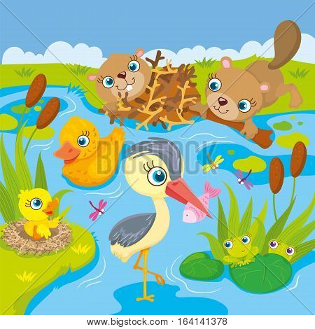 Vector illustration of the inhabitants of the pond and marshes - frogs, beavers, ducks and heron