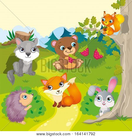 Vector illustration of forest animals - wolf, bear, fox, hedgehog, hare and squirrel