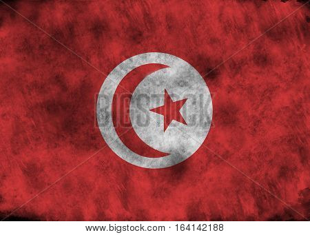 Grunge Tunisia Flag.