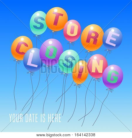 Store closing vector illustration background with balloons. Template banner design element decoration for clearance sale