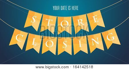 Store closing vector illustration background with garland. Template banner design element for clearance sale