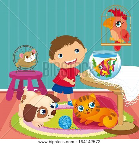 Vector illustration of pets - dog, cat, fish, hamster and parrot