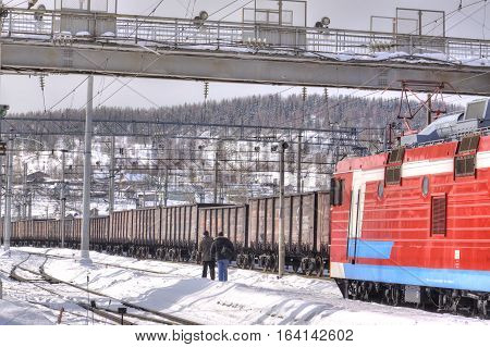 MURMANSK RUSSIA - March 27.2009: Freight trains at a railway station of the city of Murmansk