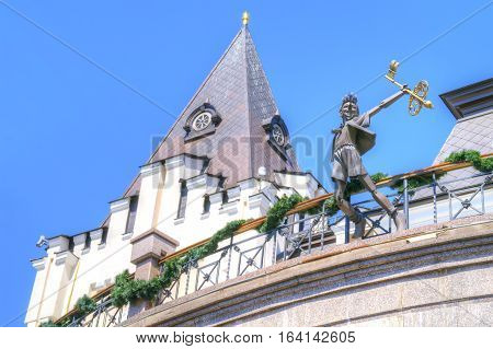 KIEV UKRAINE - May 10.2012: State academic theatre of dolls. Sculptures of fairy-tale personages. Buratino