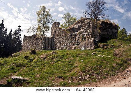 ruins of Vitkuv Hradek castle - highest castle in Czech republic - in eastern part of Sumava mountains near Lipno water reservoir with nice sky