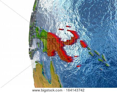 Papua New Guinea In Red