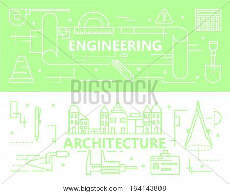 Vector set of horizontal Engineering and Architecture concept banners. Thin line flat design elements for website and printing.
