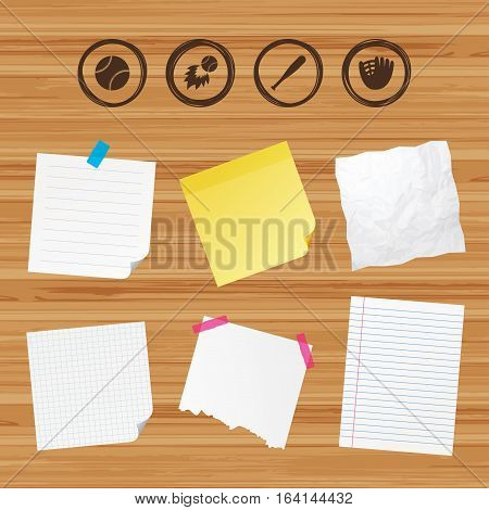 Business paper banners with notes. Baseball sport icons. Ball with glove and bat signs. Fireball symbol. Sticky colorful tape. Vector