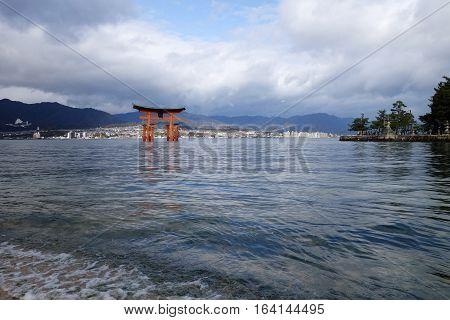 The Floating Torii gate in Miyajima Japan.