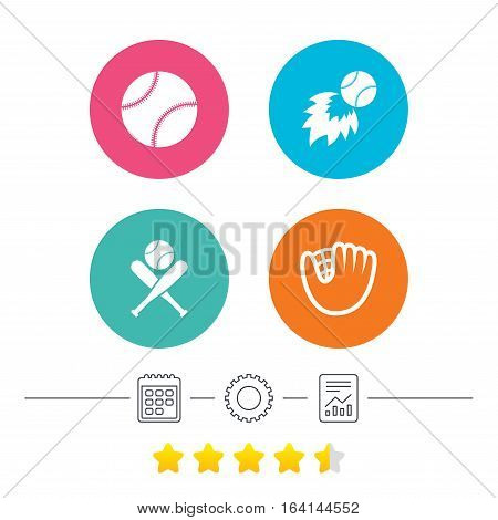 Baseball sport icons. Ball with glove and two crosswise bats signs. Fireball symbol. Calendar, cogwheel and report linear icons. Star vote ranking. Vector