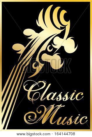 golden vector pattern with violin for a classical music concert