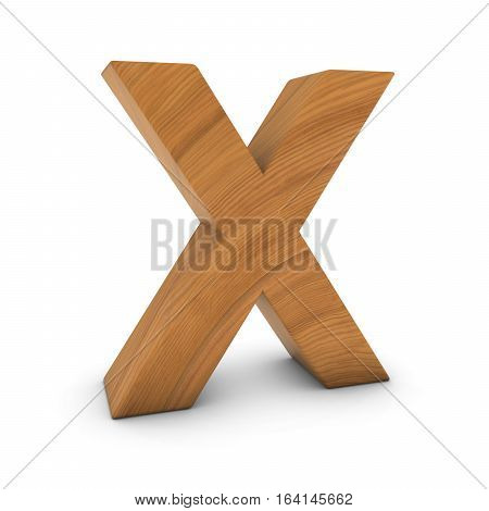 Wooden Letter X Isolated On White With Shadows 3D Illustration