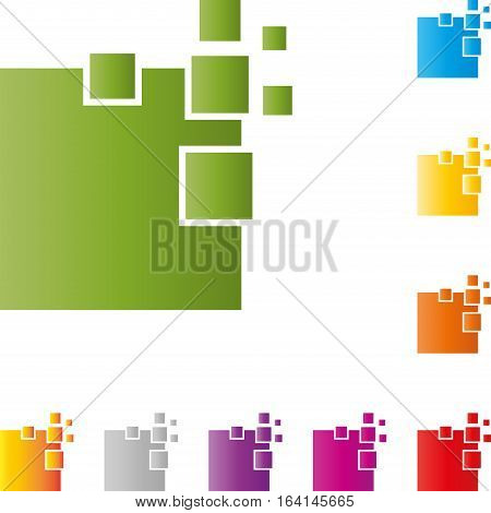 Many rectangles, pixels, IT service and data logo