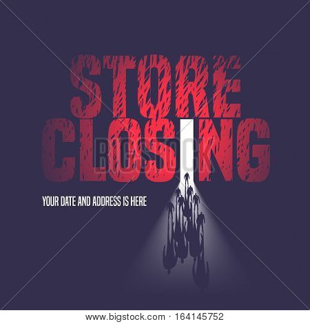 Store closing sale vector illustration background with open door and walking people. Template nonstandard banner flyer design element decoration for store closing clearance