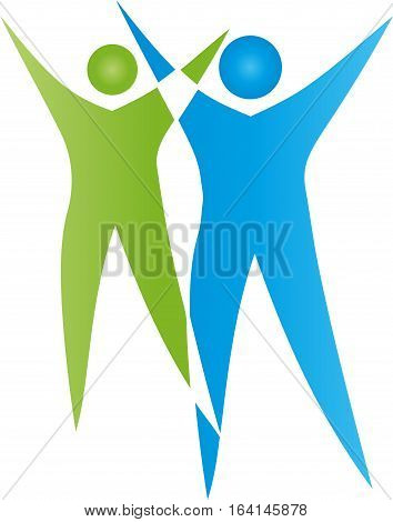 Two people in green and blue, humans and people logo