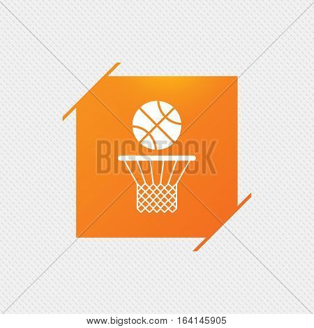 Basketball basket and ball sign icon. Sport symbol. Orange square label on pattern. Vector