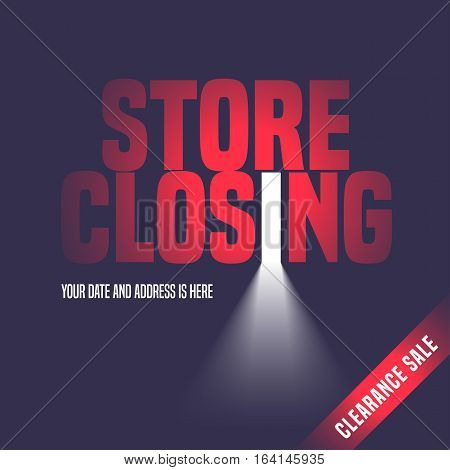 Store closing sale vector illustration background with open door light and lettering sign. Template banner flyer design element decoration for store closing clearance sale