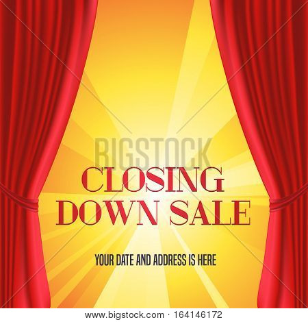 Store closing vector illustration background with red curtain and gold lettering sign. Template banner design element for closing down sale