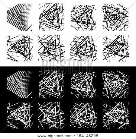 8 Geometric Patterns. Rough, Edgy Monochrome Textures Set