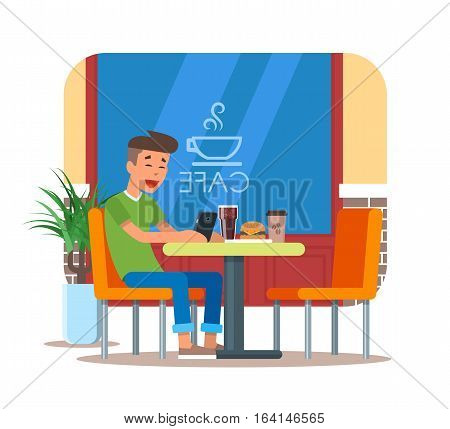 Vector illustration of cafe design element with visitor having lunch. Young man with mobile is sitting at the table. Cafe interior and cartoon character in flat design.