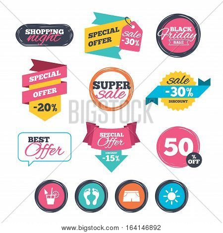 Sale stickers, online shopping. Beach holidays icons. Cocktail, human footprints and swimming trunks signs. Summer sun symbol. Website badges. Black friday. Vector