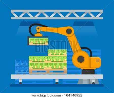 Vector illustration of industrial robot for palletizing food products. Cardboard boxes on pallet, conveyor belt. Factory automation concept design element in flat style.