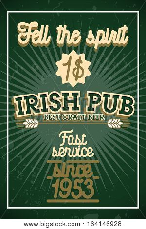 Color vintage irish pub banner and design elements. Vector illustration, EPS 10