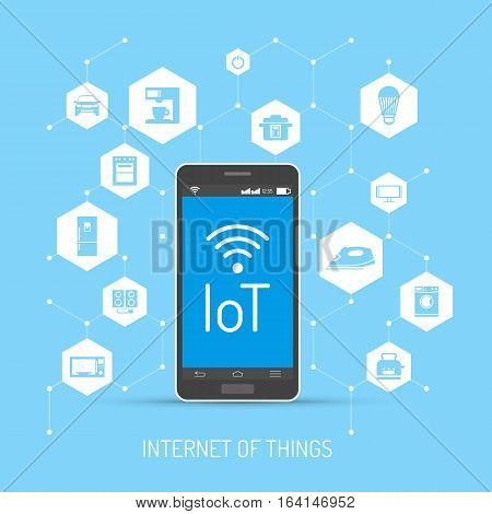 Internet of Things vector concept illustration. Smartphone with IoT lettering on screen. Household appliances, consumer electronics icons in hexagon. Home automation concept design element flat style poster