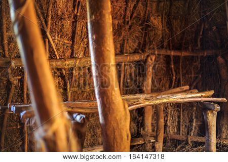 Bed In Traditional, Tribal Hut Of Kenyan People
