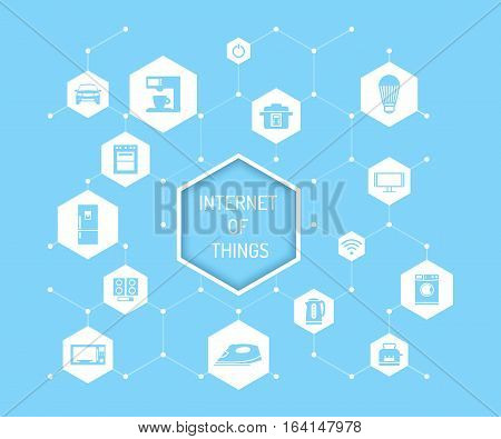 Internet of Things vector concept illustration. Household appliances, consumer electronics, auto icons and Internet of Things lettering in hexagon. Home automation concept design elements, flat style